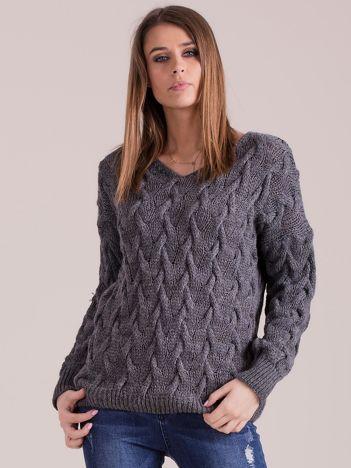 Ciemnoszary pleciony sweter