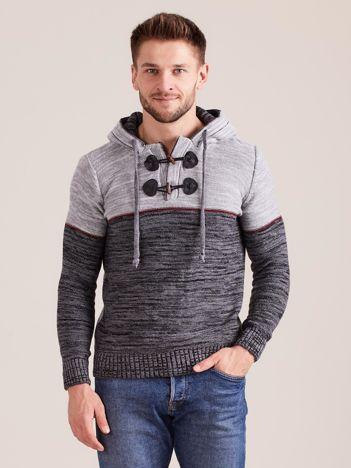 Ciemnoszary sweter męski z kapturem