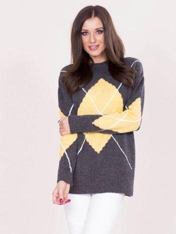 Ciemnoszary sweter w romby