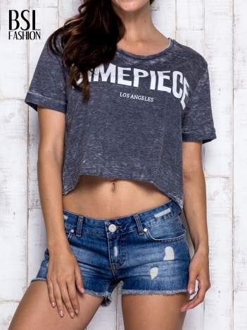 Ciemnoszary t-shirt cropped DIMEPIECE