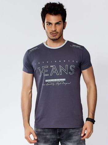 Ciemnoszary t-shirt męski JEANS