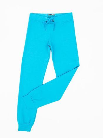 Ciemnoturkusowe dresowe spodnie dziecięce z troczkami