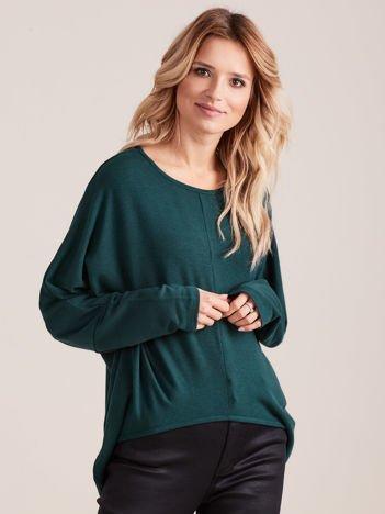 Ciemnozielona asymetryczna bluzka oversize