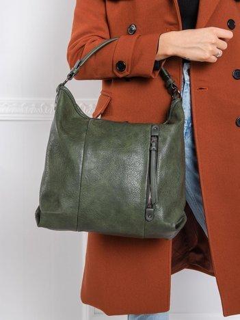 Ciemnozielona torba ze skóry ekologicznej