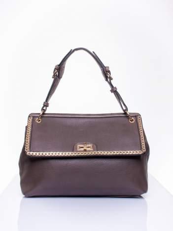 Ciemnozielona torebka kuferek ze złotym łańcuszkiem