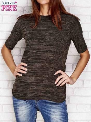 Ciemnozielony melanżowy t-shirt z dłuższym tyłem
