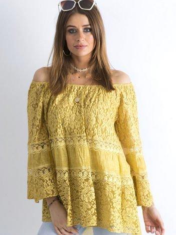 Ciemnożółta luźna bluzka hiszpanka