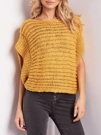 Ciemnożółty sweter kamizelka