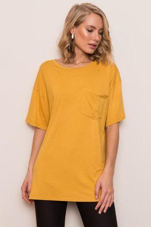 Ciemnożółty t-shirt oversize BSL