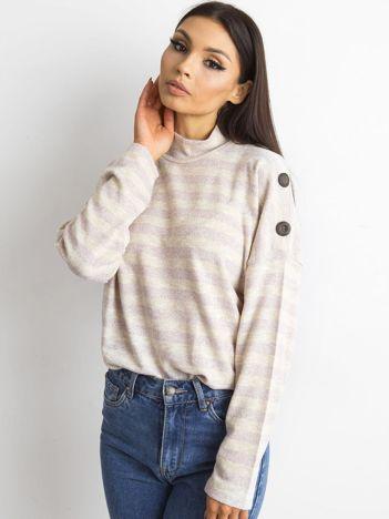 Cienki sweter w paski z półgolfem różowy