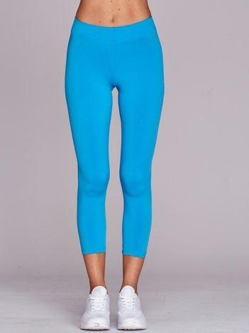 Cienkie legginsy do biegania o długości 3/4 turkusowe