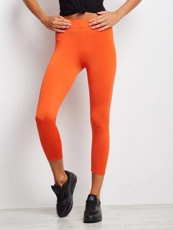 Cienkie legginsy fitness o długości 3/4 ciemnopomarańczowe
