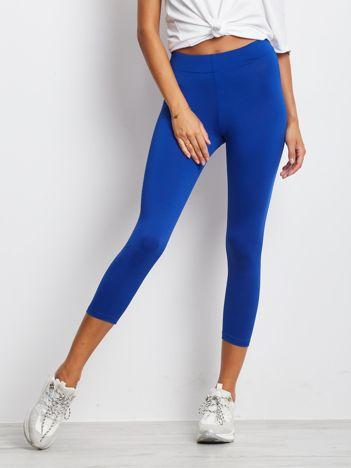 Cienkie legginsy sportowe o długości 3/4 kobaltowe