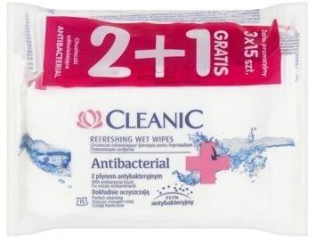 Cleanic Chusteczki odświeżające Antibacterial  2+1 gratis  1op.-(3 x 15 szt)