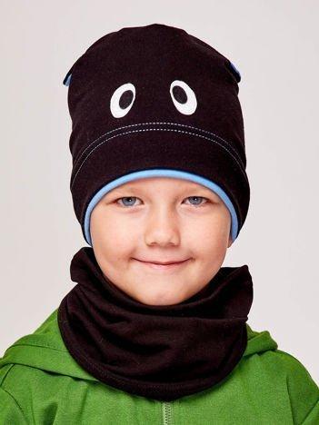 Czapka chłopięca z oczami i uszami czarno-niebieska