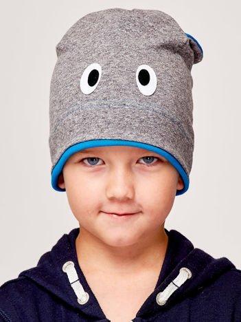 Czapka chłopięca z oczami i uszami szaro-niebieska