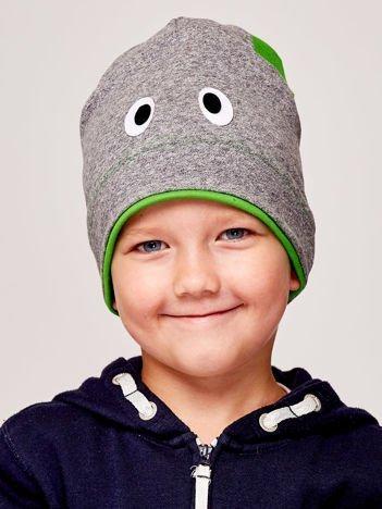 Czapka chłopięca z oczami i uszami szaro-zielona