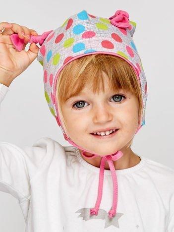 Czapka dziewczęca w kolorowe grochy z wiązaniem szara