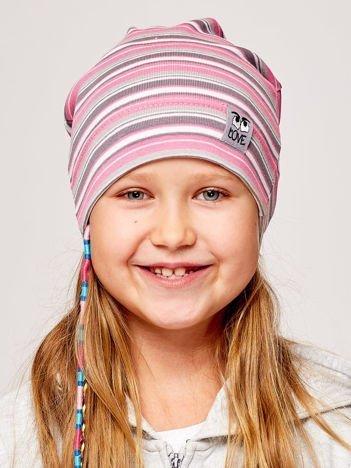 Czapka dziewczęca w paski z naszywką LOVE różowo-szara
