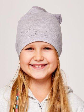 Czapka dziewczęca z aplikacją z dżetów szara