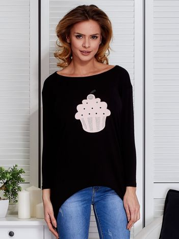 Czarna asymetryczna bluzka z babeczką