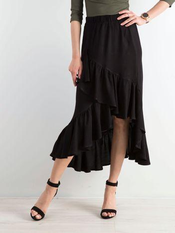Czarna asymetryczna spódnica z falbanami