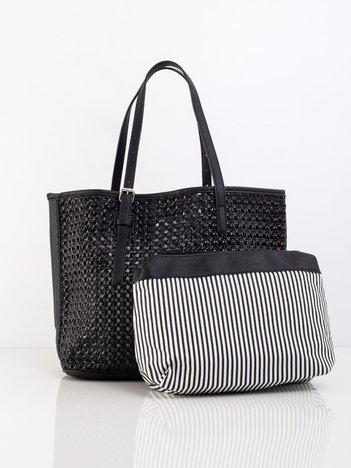 Czarna ażurowa torba damska