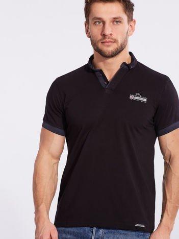 Czarna bawełniana męska koszulka polo