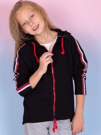 Czarna bluza dla dziewczynki z kapturem