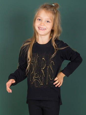 Czarna bluza dziecięca bawełniana z tłoczonym napisem