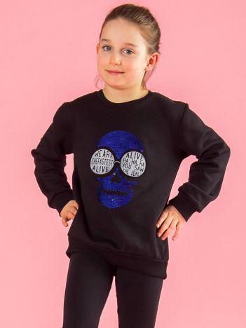 Czarna bluza dziecięca z aplikacją