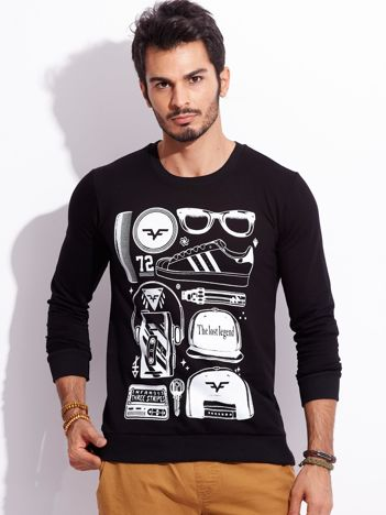 Czarna bluza męska bez kaptura z nadrukiem