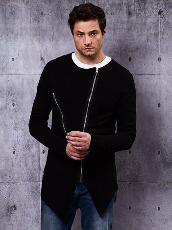 Czarna bluza męska z asymetrycznymi suwakami