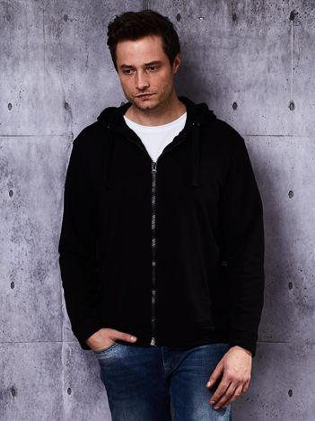 Czarna bluza męska z kapturem i troczkami