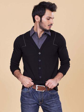 Czarna bluza męska z koszulą