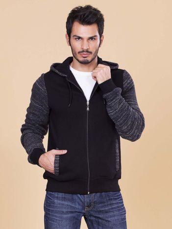 Czarna bluza męska ze swetrowymi wstawkami