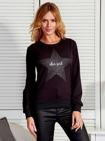 Czarna bluza z brokatową gwiazdą