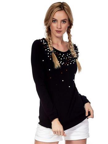 Czarna bluza z kolorowymi perełkami