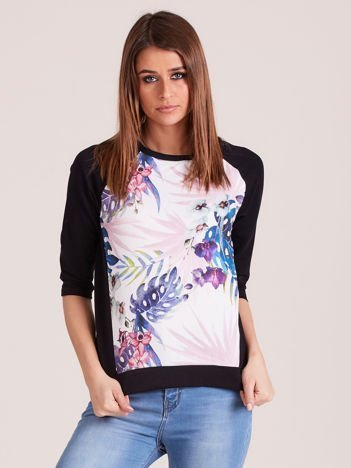 Czarna bluza z motywem egzotycznych roślin