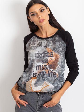 Czarna bluza z tanecznym nadrukiem