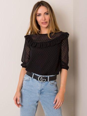 Bordowa bluzka w stylu hiszpańskim z falbaną Bluzka