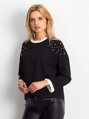 Czarna bluzka damska z perełkami