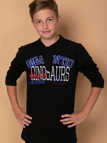 Czarna bluzka dla chłopca z nadrukiem