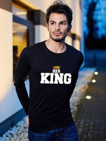 Czarna bluzka męska z koroną HER KING dla par
