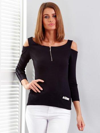 Czarna bluzka off shoulder z suwakiem