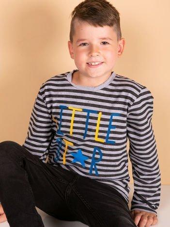 Czarna bluzka w paski dla dziewczynki z napisem LITTLE STAR