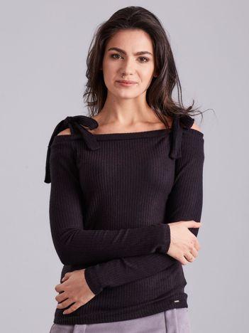 Czarna bluzka w prążek z wiązaniami