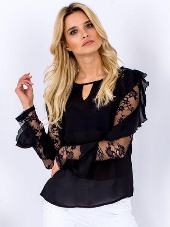Czarna bluzka z falbanami i koronkowymi rękawami