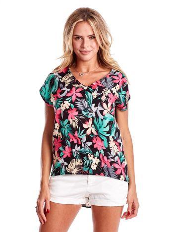6aa8774795 Czarna bluzka z kolorowym kwiatowym nadrukiem