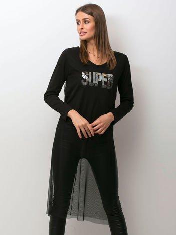 Czarna bluzka z siatkową warstwą